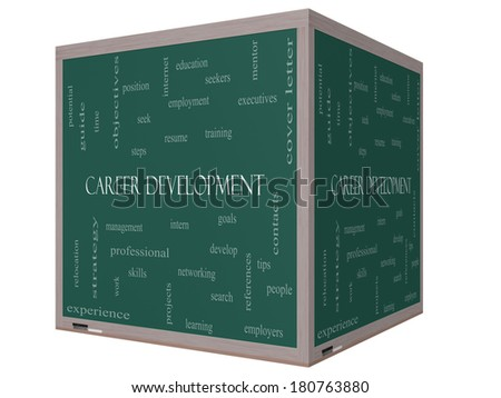 Career Development Word Cloud Concept on a 3D cube Blackboard with great terms such as goals, resume, mentor and more. - stock photo
