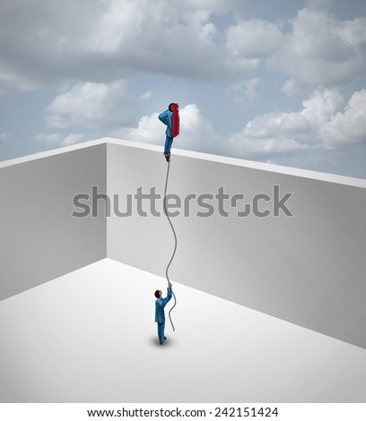 Career exploration business success thinking concept as a surreal metaphor with an innovative  businessman split into two pieces with one half flying away above the wall as a balloon. - stock photo