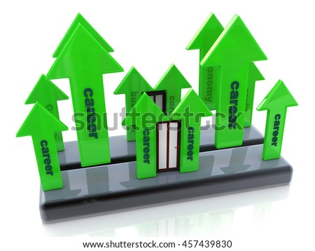 career growth at registration information associated with the business and skills. 3d illustration - stock photo