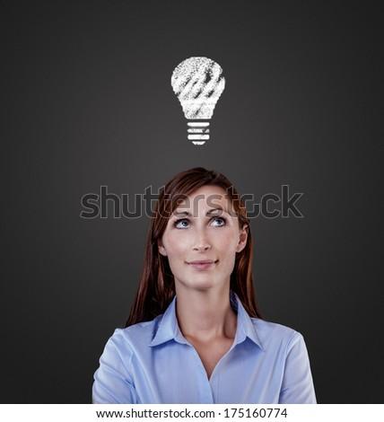career idea lady on dark board - stock photo