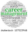 Career management concept in word tag cloud on white - stock