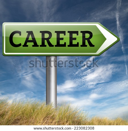 career move and ambition for personal development a nice job promotion or the search for a new job - stock photo