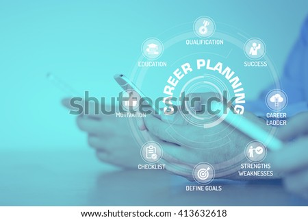 CAREER PLANNING CONCEPT with Icons and Keywords - stock photo