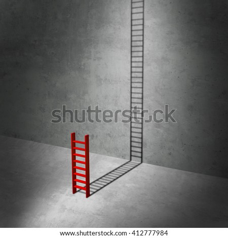 Career potential concept as a business metaphor for imagining success as a symbol for hidden potential as a red ladder casting a long shadow stretching to the top as a 3D illustration. - stock photo