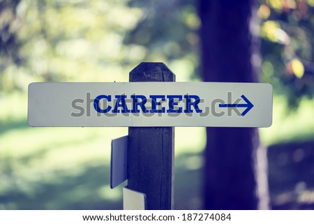 Career signpost with right pointing arrow and text on a rustic wooden pole in woodland with a faded retro effect. - stock photo