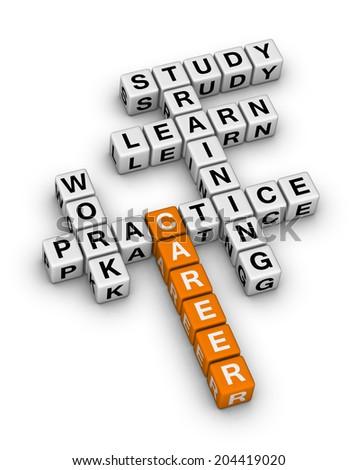 career steps (orange-white crossword puzzles series) - stock photo