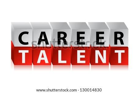career talent cubes illustration design over white - stock photo