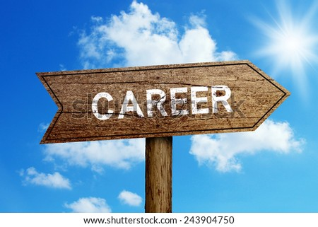 Career wooden road sign with shining blue sky background. - stock photo