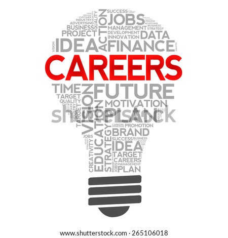 CAREERS bulb word cloud, business concept - stock photo