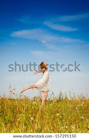 Carefree emotional girl. Summer  - stock photo