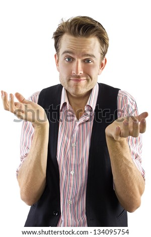 Carefree Male.  Young male with a care free expression against a white background. - stock photo