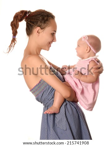 Carefree mother and child - stock photo
