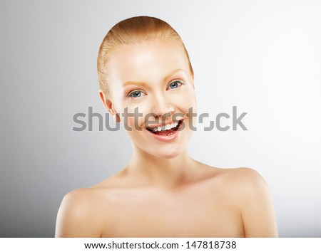 Carefree Young Woman Having Fun and Smiling. Pleasure - stock photo