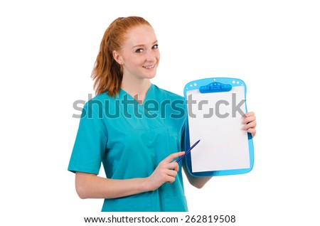 Careful nurse isolated on white - stock photo