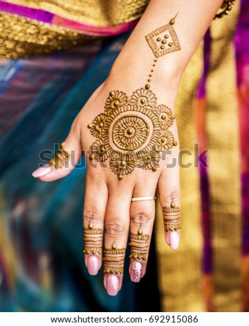 Carefully Painted Intricate Design Using Henna Mehndi Art On The Hand Of Young Indian