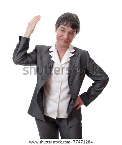 careless mature woman with arm up isolated on white background - stock photo