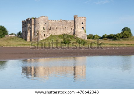 Carew medieval castle and millpond, Pembrokeshire National Park, Wales