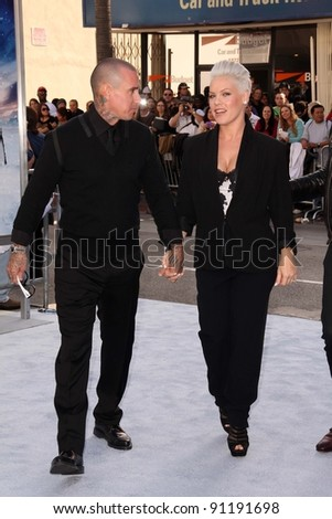 "Carey Hart, Alecia ""Pink"" Moore at the ""Happy Feet Two"" World Premiere, Chinese Theater, Hollywood, CA 11-13-11"