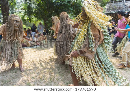 CAREY ISLAND, SELANGOR,MALAYSIA - MARCH 1, 2014 : Unidentified people of Mah Meri tribe dance during the Ari Moyang (Ancestors Day) celebration in Pulau Carey Island, Klang, Malaysia. - stock photo