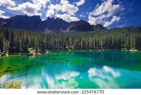 Carezza lake, Sud Tirol, Italy - stock photo
