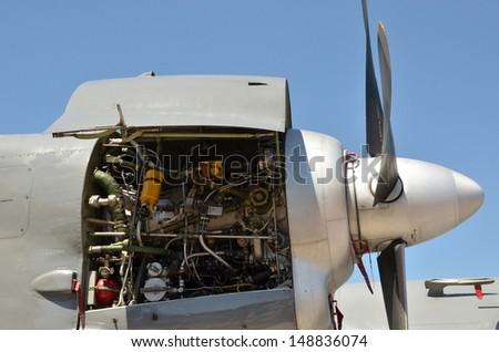 Cargo airplane engine - stock photo