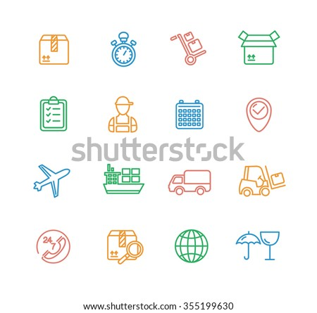 Cargo and Shipping Outline Colorful Icons Set. illustration - stock photo