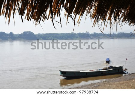 Cargo Boat Country River View Thailand - stock photo