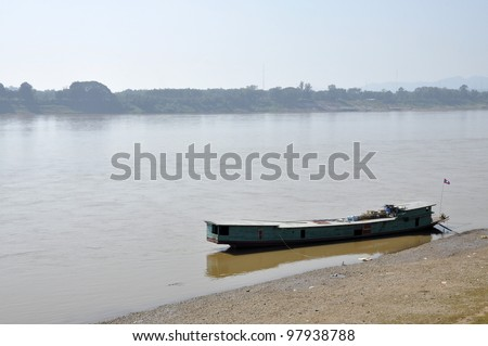 Cargo Boat River View Thailand Country - stock photo