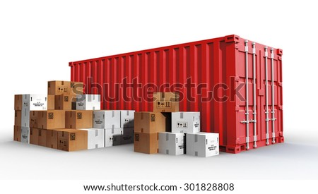 cargo container and cardboard boxes