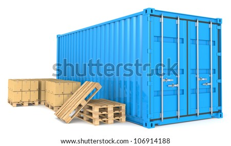 Cargo Container and Goods. Blue Cargo Container, pallets and cardboard boxes. Warehouse and distribution series. - stock photo