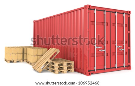Cargo Container and Goods. Red Cargo Container, pallets and cardboard boxes. Warehouse and distribution series. - stock photo
