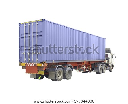 Cargo container and trailer truck isolated on white background. - stock photo
