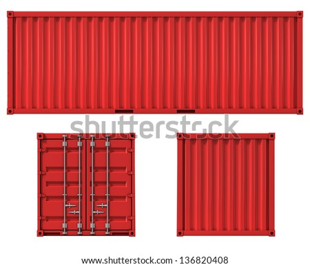 cargo container front side and back view - stock photo