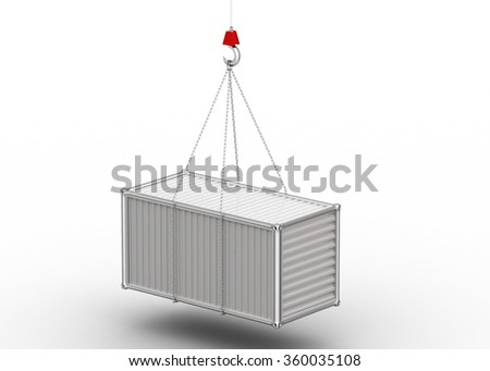 Cargo container  hanging the hook - stock photo