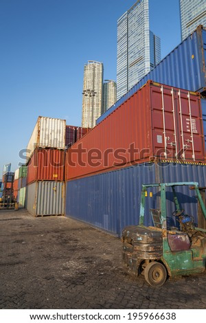 Cargo Container in Port in Hong Kong - stock photo