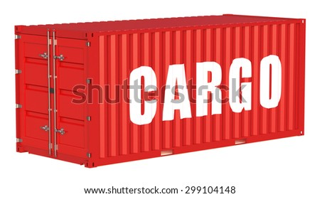 cargo container isolated on white background - stock photo
