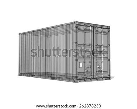 Cargo container, monochrome digital 3d render with wireframe lines isolated on white background