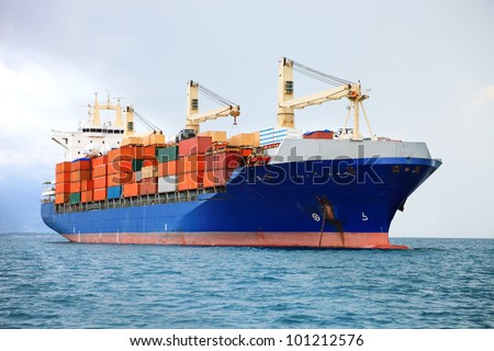 cargo container ship in mediterranean coast