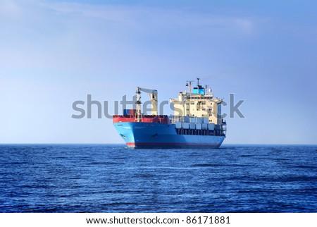 Cargo container ship sailing - stock photo