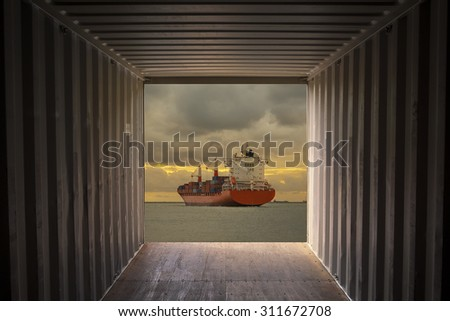 Cargo container ship sailing and view from the Cargo container - stock photo
