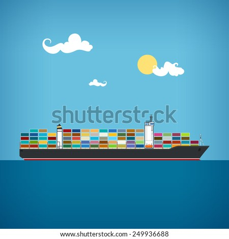 Cargo container ship transports containers at the blue ocean in a sunny day - stock photo