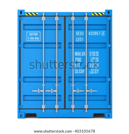 Cargo container texture, front view, isolated on white background 3d