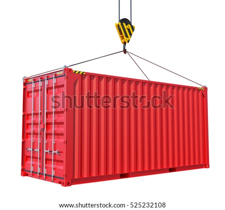 Cargo container with hook isolated on white. 3D rendering