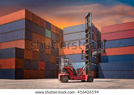 Cargo containers in shipping yard for logistic import,export industrial against sunrise sky environment. - stock photo