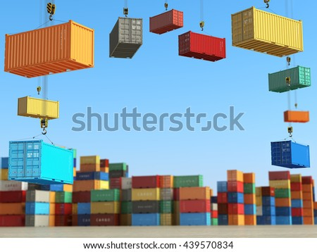 Cargo containers in storage area with forklifts. Delivery  or shipping background concept. 3d illustration - stock photo