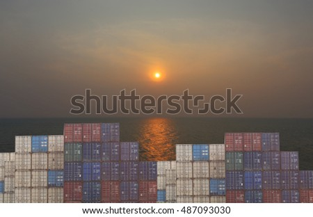 Cargo containers stack in port and sky sunset background,Thailand harbor in twilight.