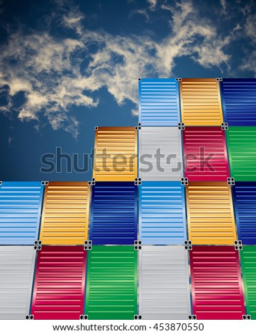 cargo containers with  blue sky background