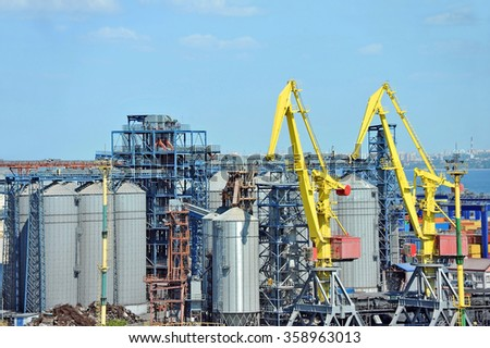 Cargo crane and grain dryer in port Odessa, Ukraine