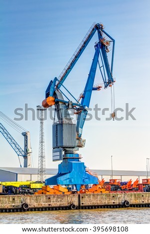 Cargo crane in the harbour of Hamburg, Germany