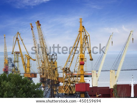 Cargo cranes used for heavy weight lifting. Odessa, Ukraine - stock photo